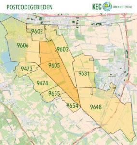 De postcodegebieden